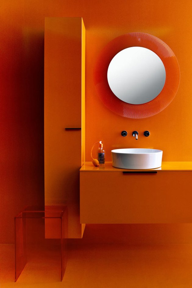 modern orange kartell bathroom