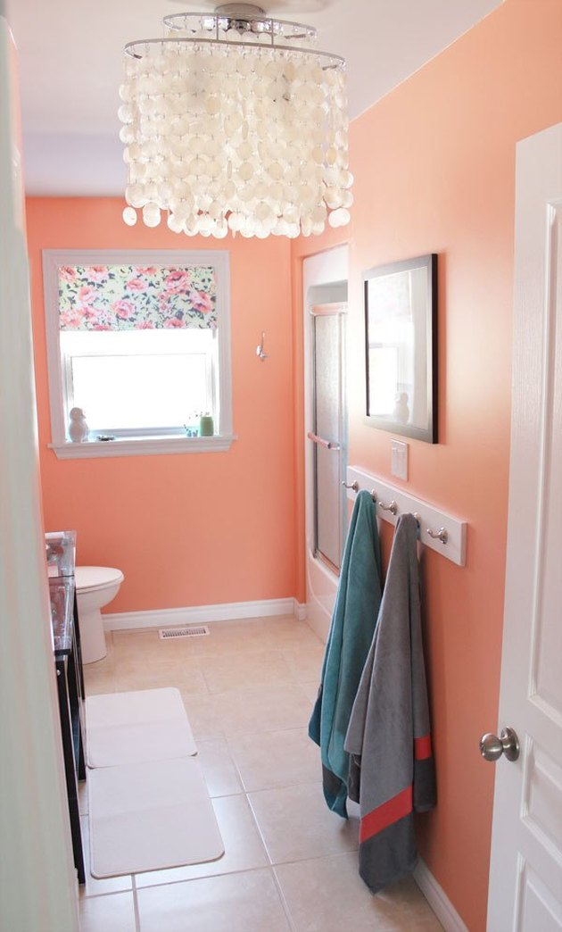 bathroom with peach orange paint