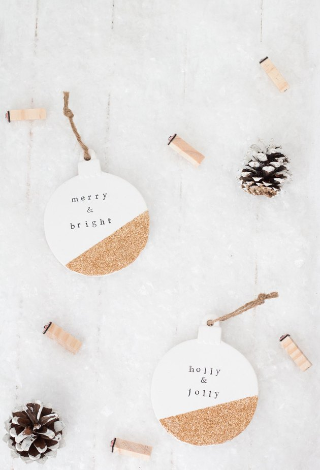 DIY holiday gold glitter ornaments