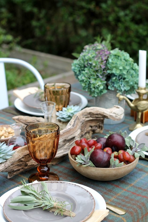 Plaid tablecloth with autumnal accessories