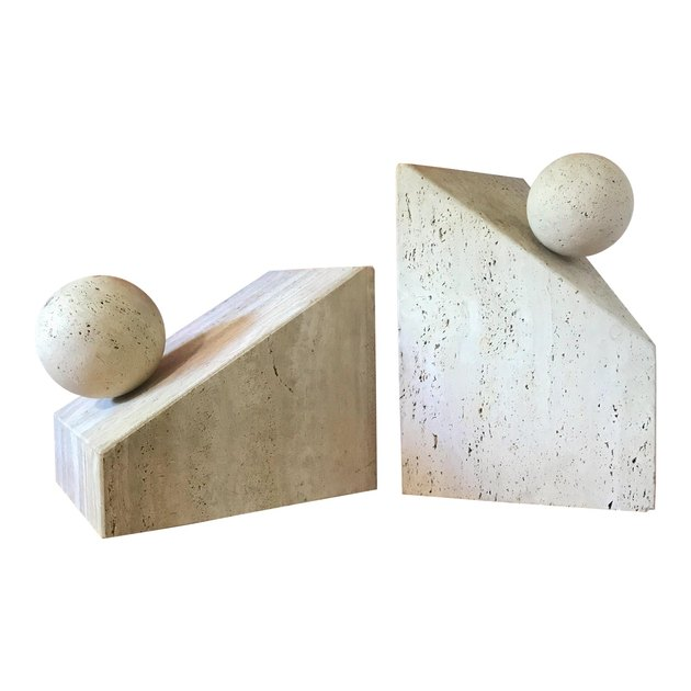 postmodern travertine table bases