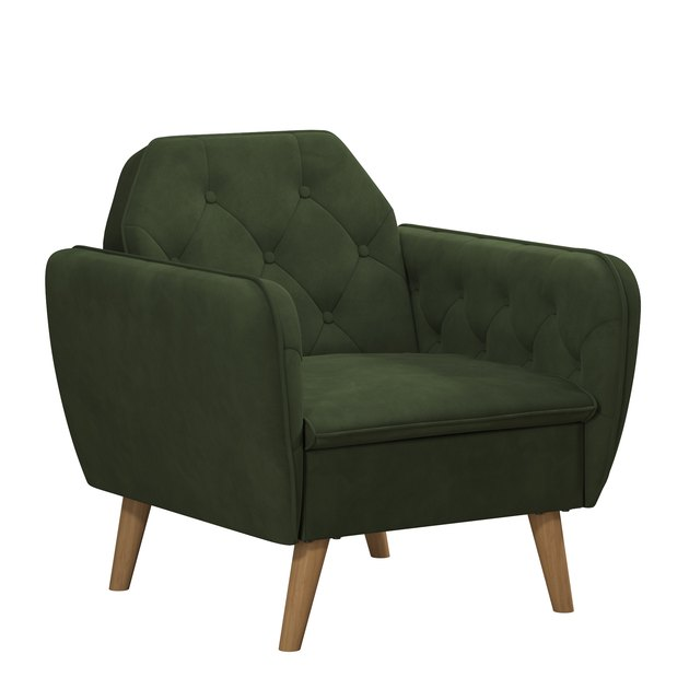 green tufted armchair