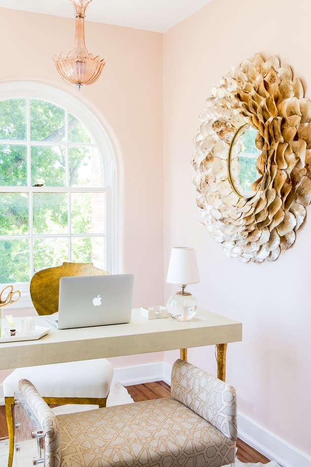 feminine office idea with pink walls