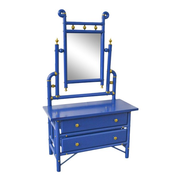 blue dresser with mirror