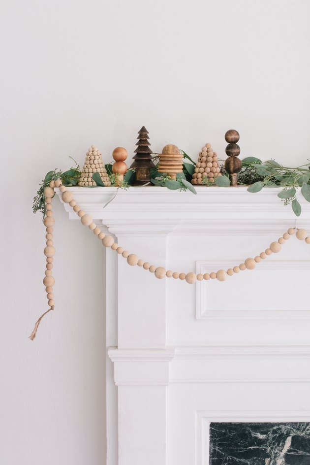 DIY wooden forest Christmas mantel