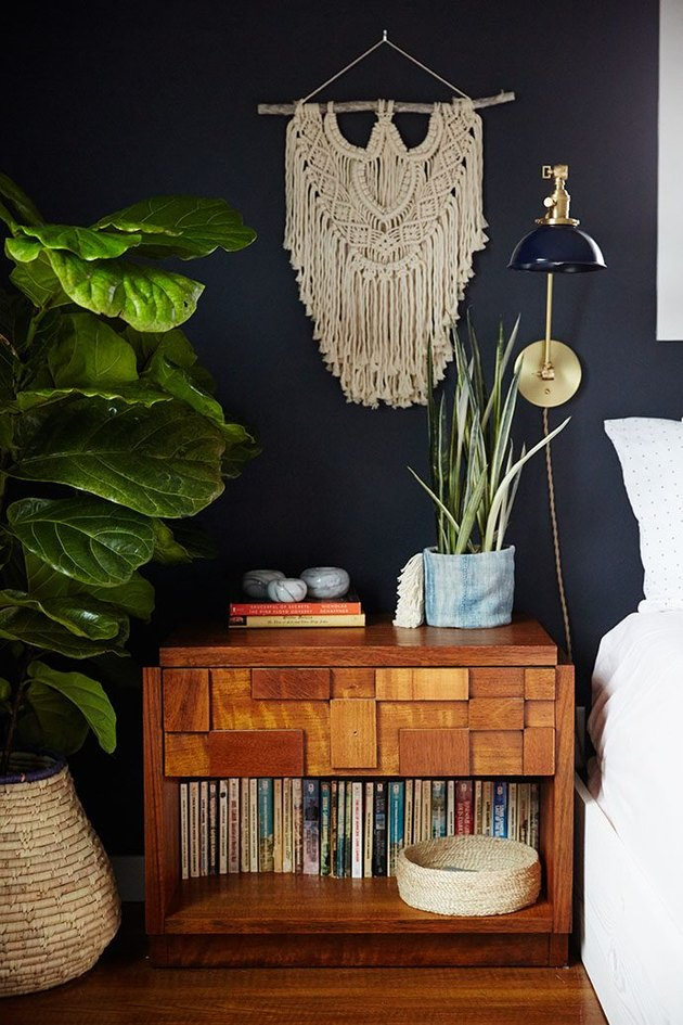 bohemian bedroom with black walls
