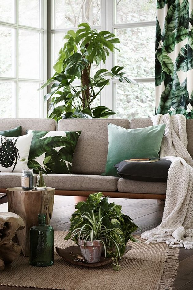 tropical living room with palm leaf drapery and pillows