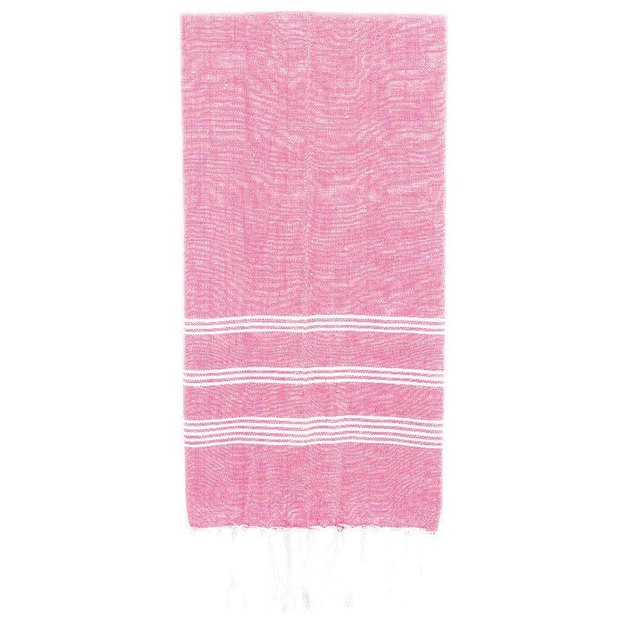 Pink hand towel with white stripes and fringe