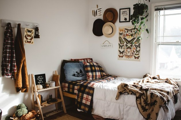 fall inspired bedroom decor with plaid bedding