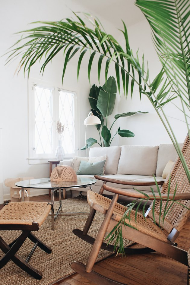 tropical living room with caned furniture