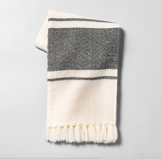 throw blanket in grey and white