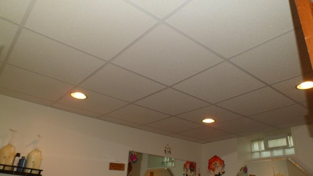 Basement acoustic tile ceiling