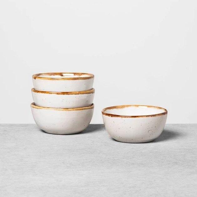 four mini bowls
