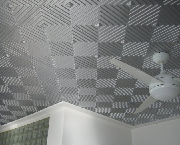 Geometric patterned ceiling tile.