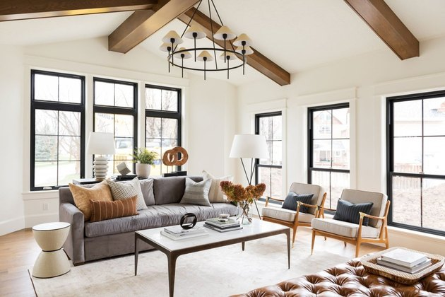 The right chandelier can tie you entire living room together.