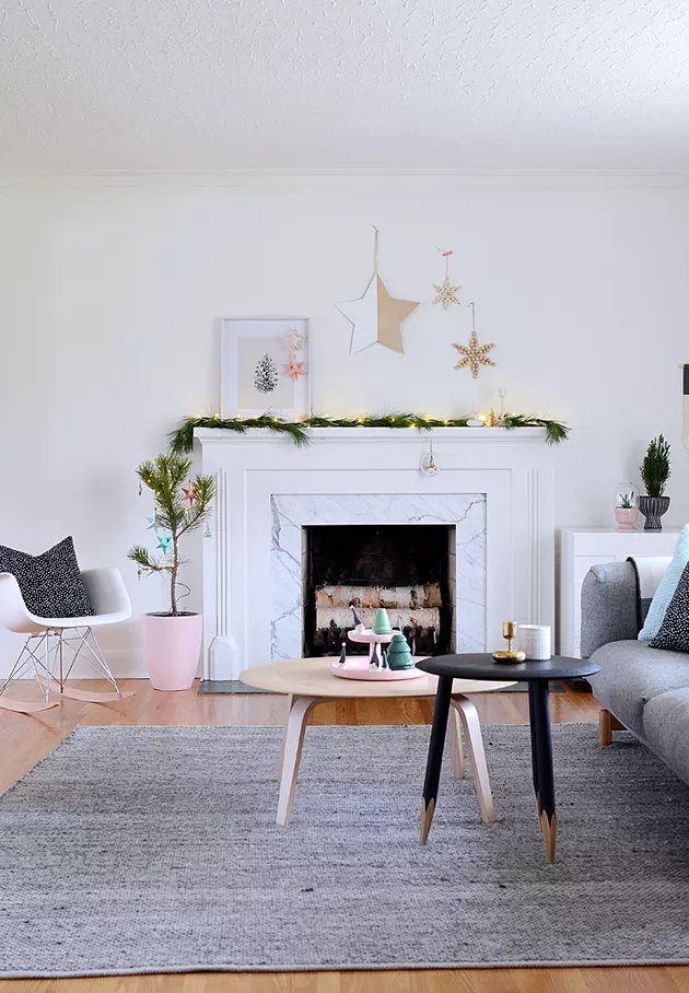 Scandinavian Christmas decor with blush pink accents