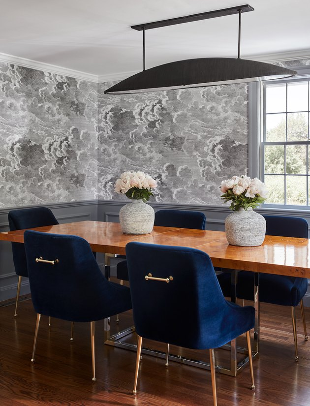Contemporary gray dining room idea with gray cloud wallpaper