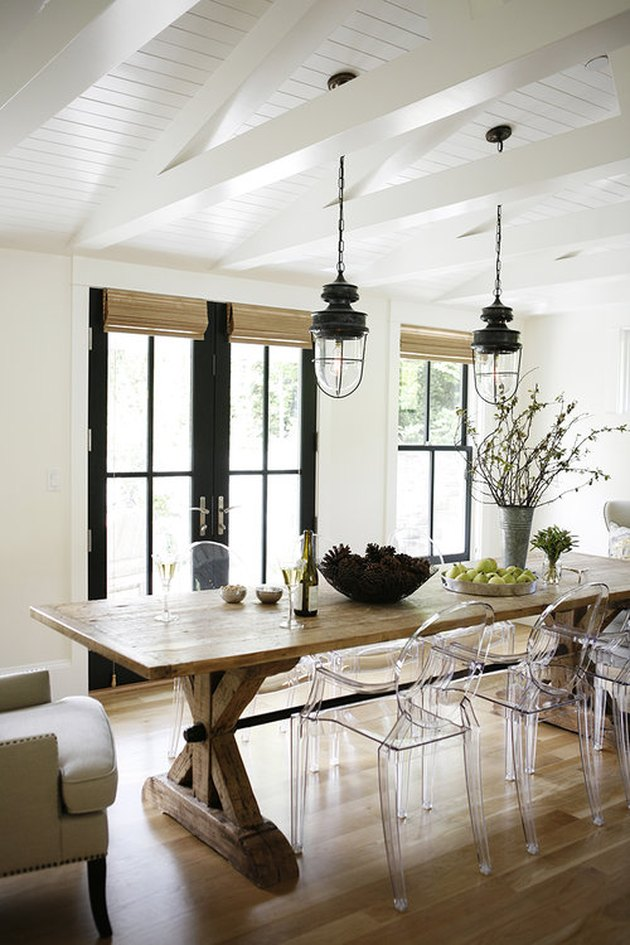 wooden table in modern farmhouse style dining room