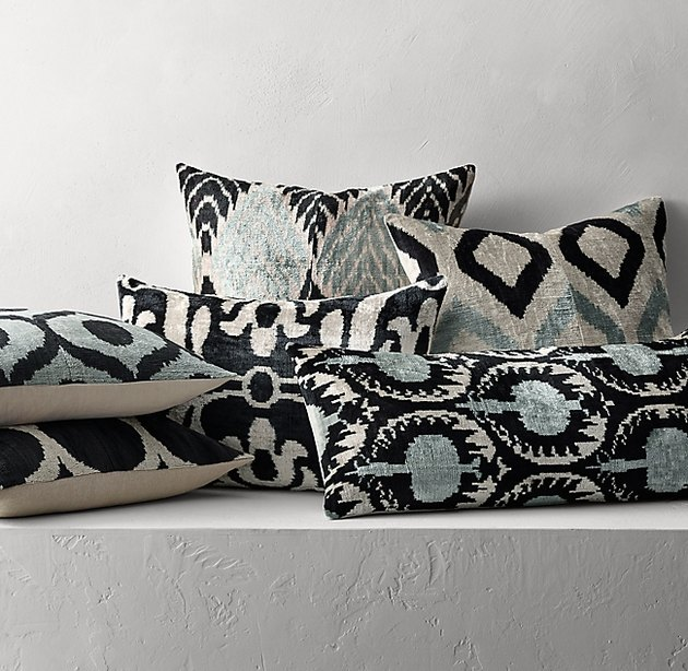 ikat patterned pillows