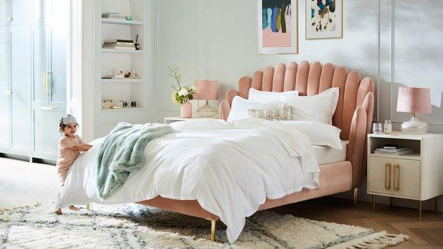 pink velvet anthropologie bed