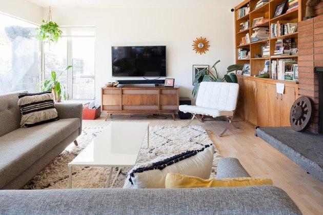 midcentury modern living room with Barcelona Bauhaus chair