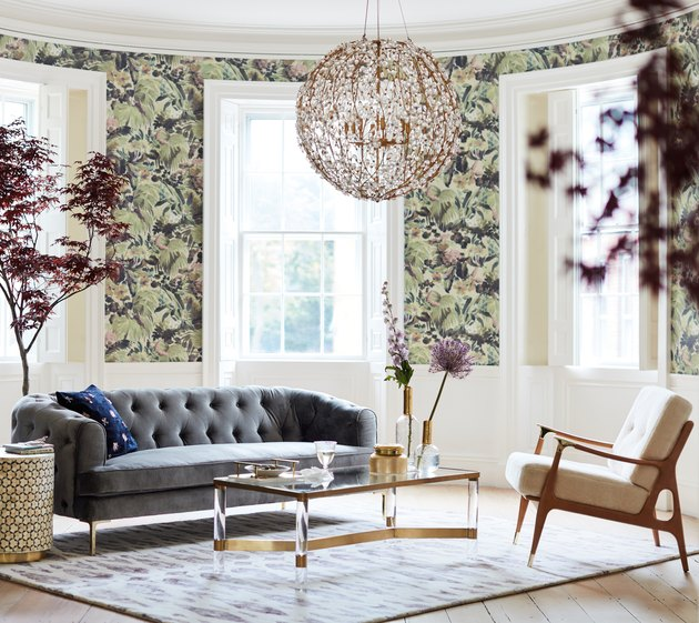 living room with floral wallpaper