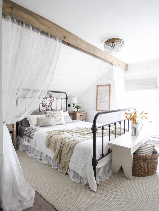 farmhouse style bedroom with fall decor