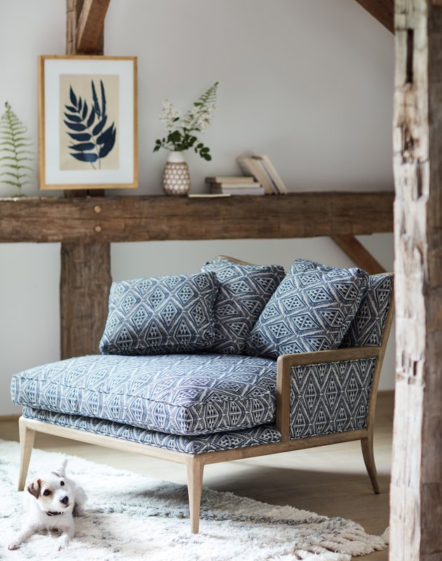 blue printed chair from anthropologie