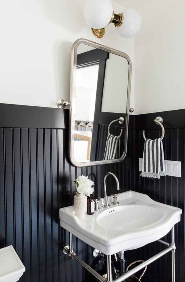 Farmhouse bathroom with black shiplap