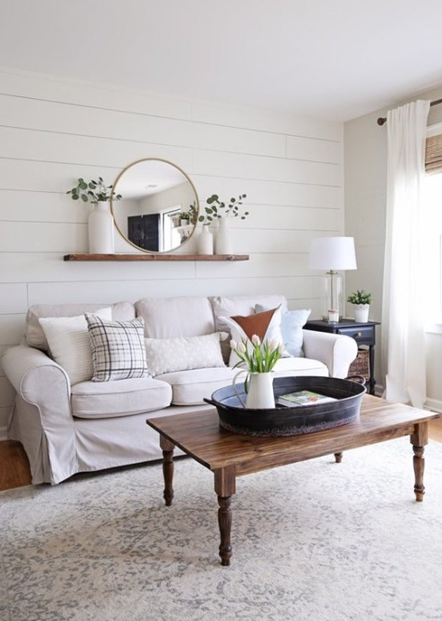 farmhouse living room with shiplap wall