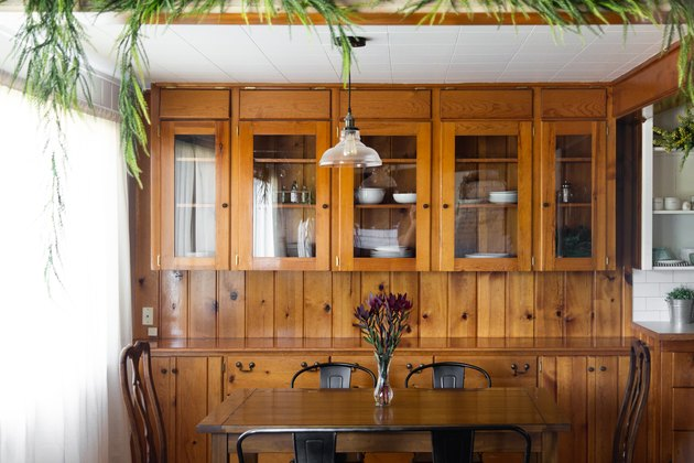 Dining room with wood built-in china cabinet