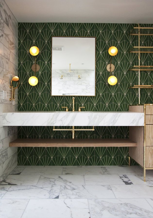 midcentury bathroom with marble floor