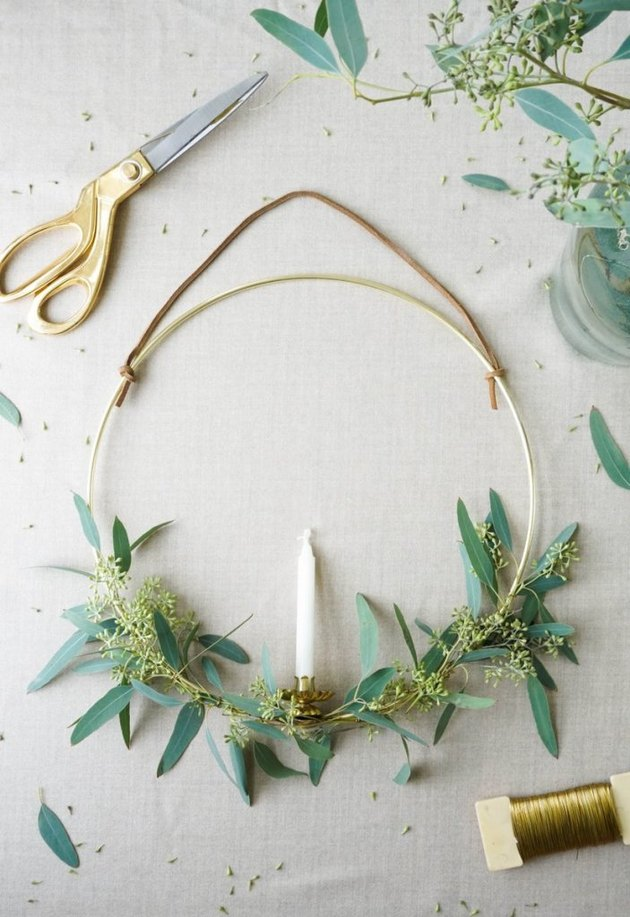 Christmas Crafts for Adults with Swedish candle wreath with eucalyptus and brass hoop by Francois et Moi