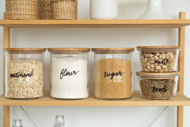 hand-lettered glass jars