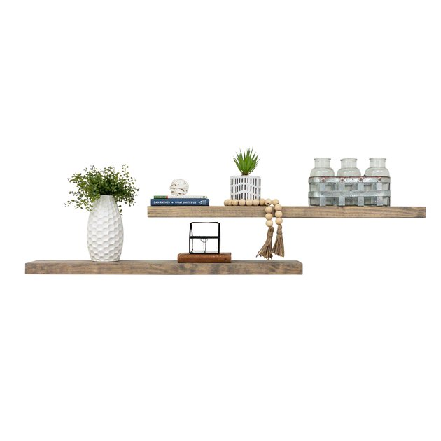 Rustic Pine Solid Natural Wood Floating Shelves