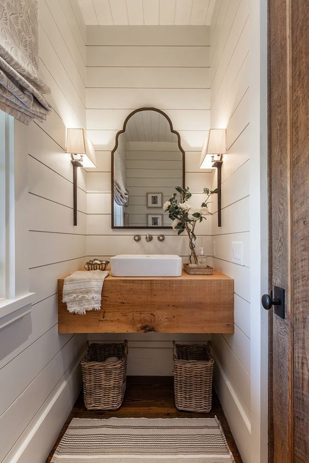 white shiplap in bathroom