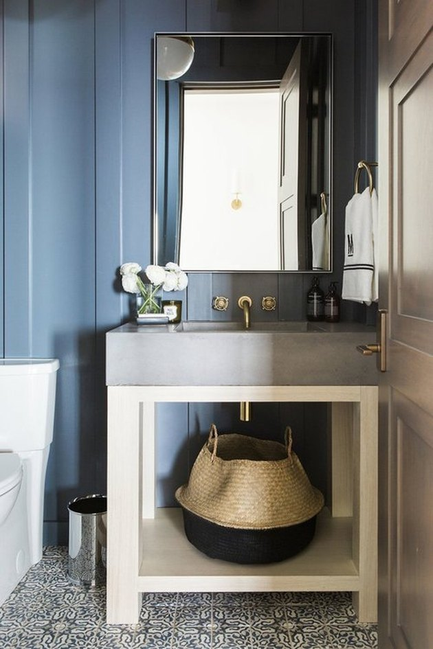 bathroom storage idea for small bathroom with concrete sink