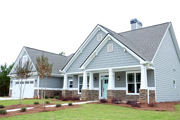 home exterior house color for 2021 with gray with turquoise door and white trim