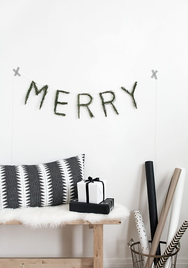 Christmas Crafts for Adults with Minimalistic DIY Christmas garland with pine by Homey Oh My