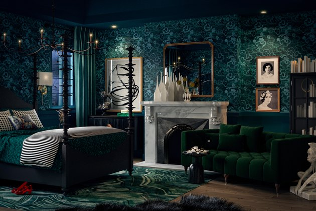 dark, moody, green bedroom