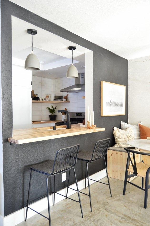 dark gray kitchen feature wall in modern kitchen
