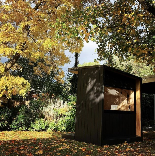 black Prefab home office shed in Australia