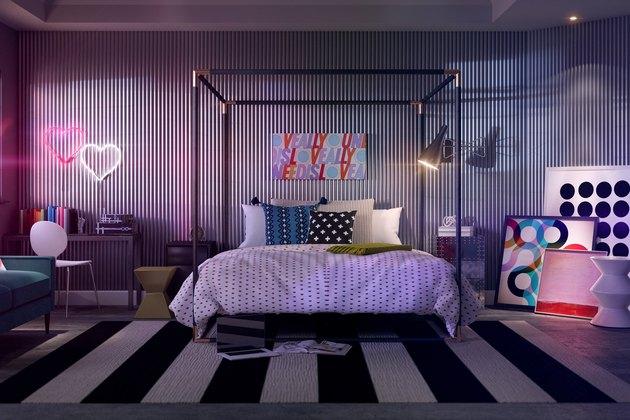 modern neon bedroom