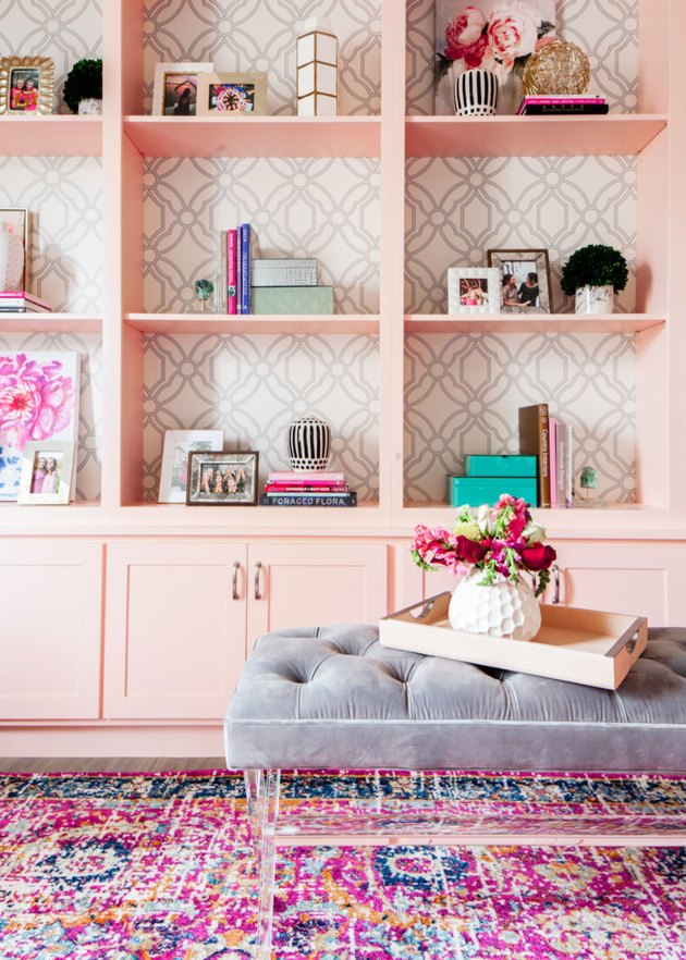 Home Office Built Ins in Pink home office by Studio Ten 25