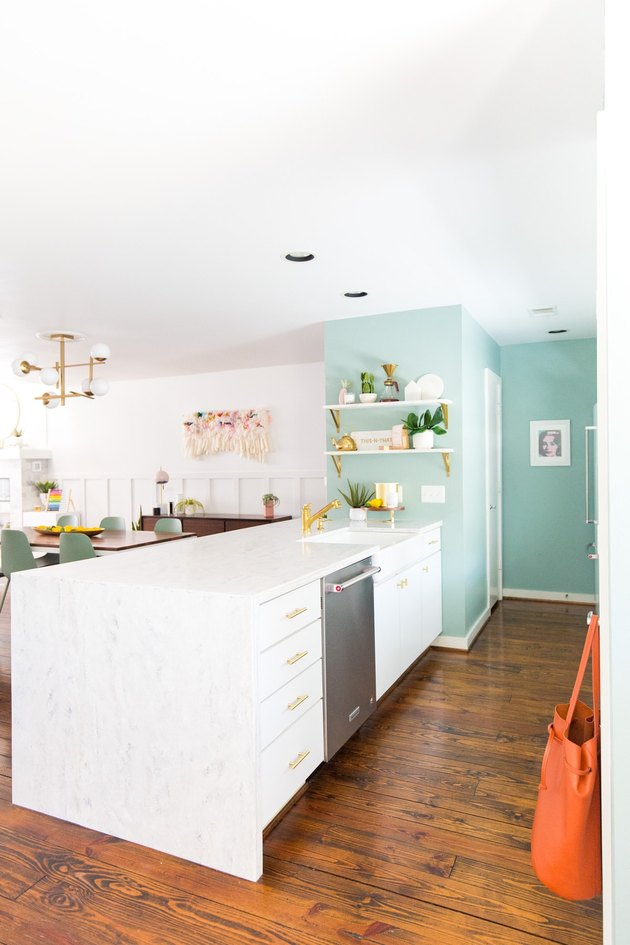 boho glam kitchen with aqua feature wall