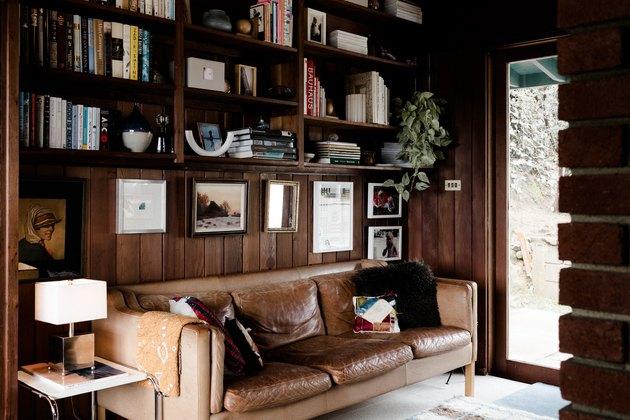 Maureen Meyer's midcentury modern wood paneled Home Office Built Ins