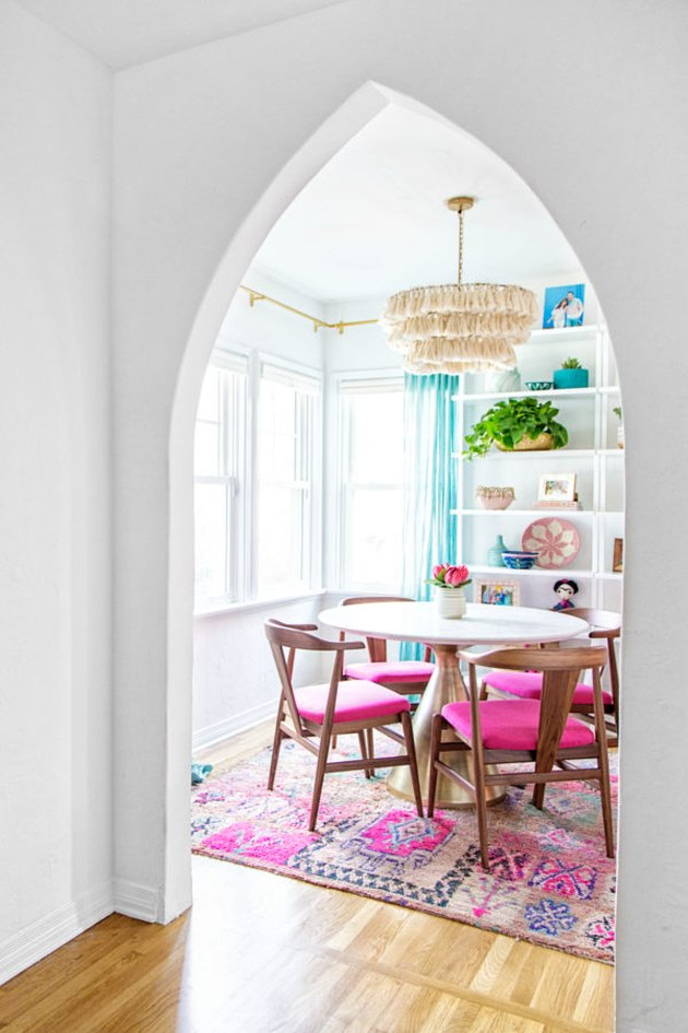 boho dining room lighting idea with fringed pendant