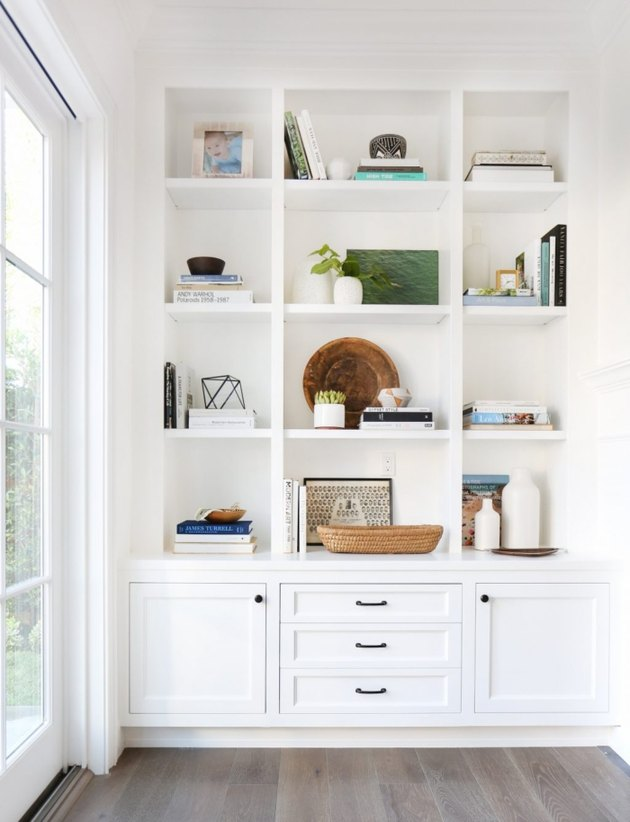 White Home Office Built Ins designed by Amber Interiors