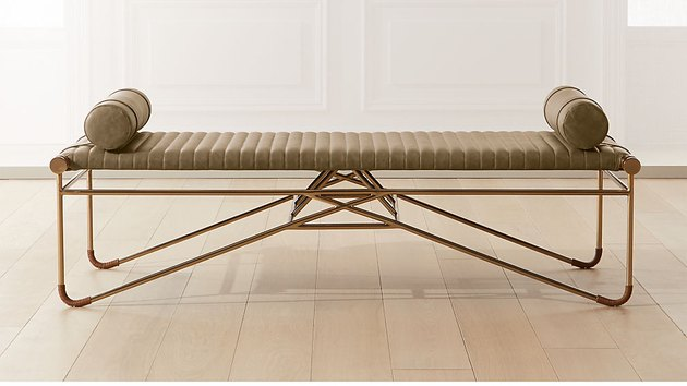 CB2 La Strizza Saddle Leather Bench