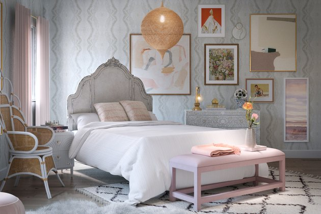 whimsical bedroom with pink touches